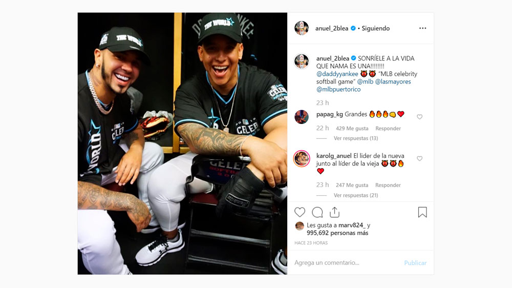 Anuel Aa Played Professional Baseball With Daddy Yankee In Mlb Celebrity And Legends Game Shows