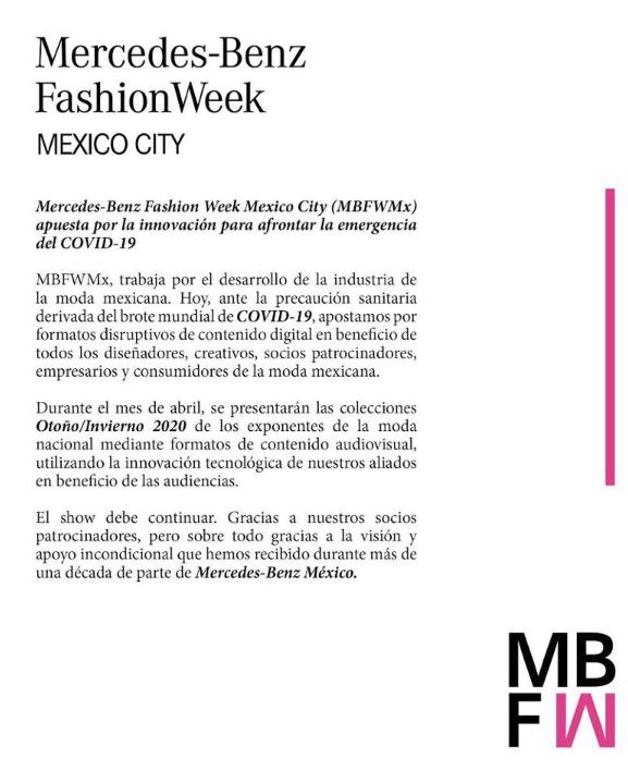 Resultado de imagen para Mercedes-Benz Fashion Week COVID